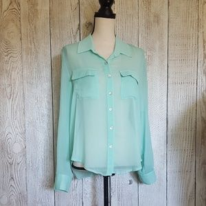 About a Girl Turquoise Button Front Blouse Size M